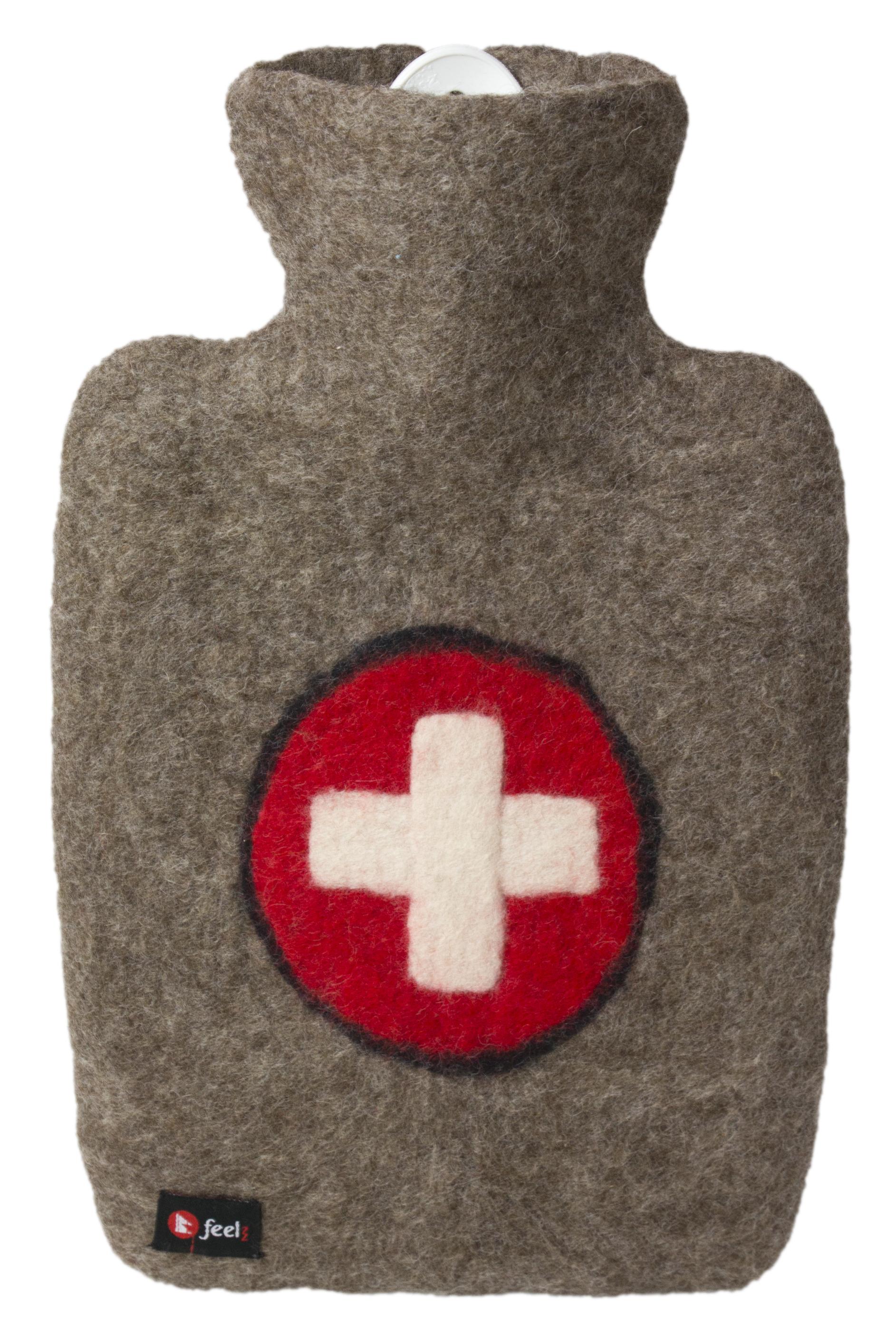 HUGO-FROSCH Termofor Classic s plstěným obalem ze 100 % ovčí vlny merino - kříž