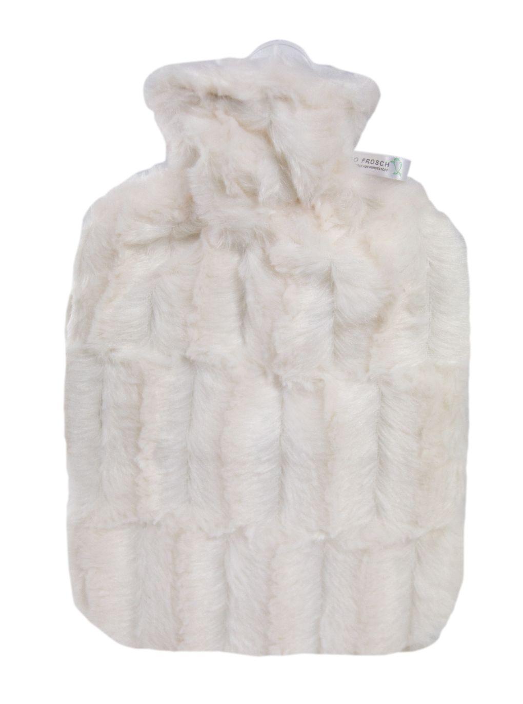 HUGO-FROSCH Termofor Classic s obalem z umělé kožešiny – bílý
